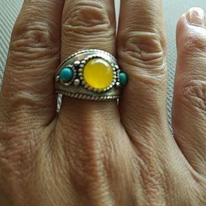 .925 vintage yellow jade + turquoise